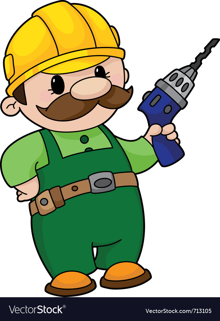 Builder with a drill vector | Price: 1 Credit (USD $1)