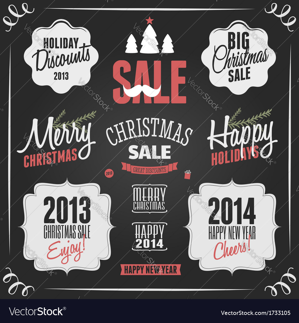 Chalkboard style vintage christmas elements vector | Price: 1 Credit (USD $1)