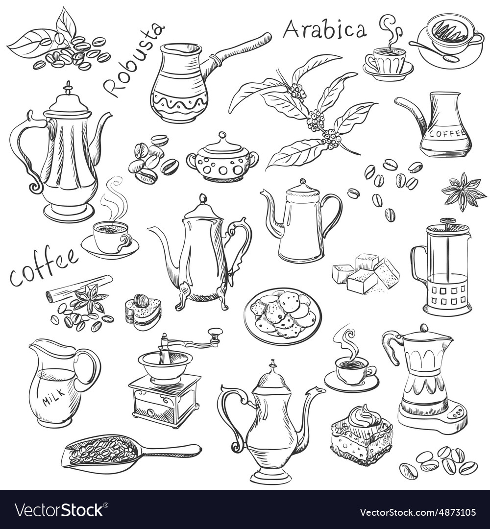 Coffee collection  hand drawn vector