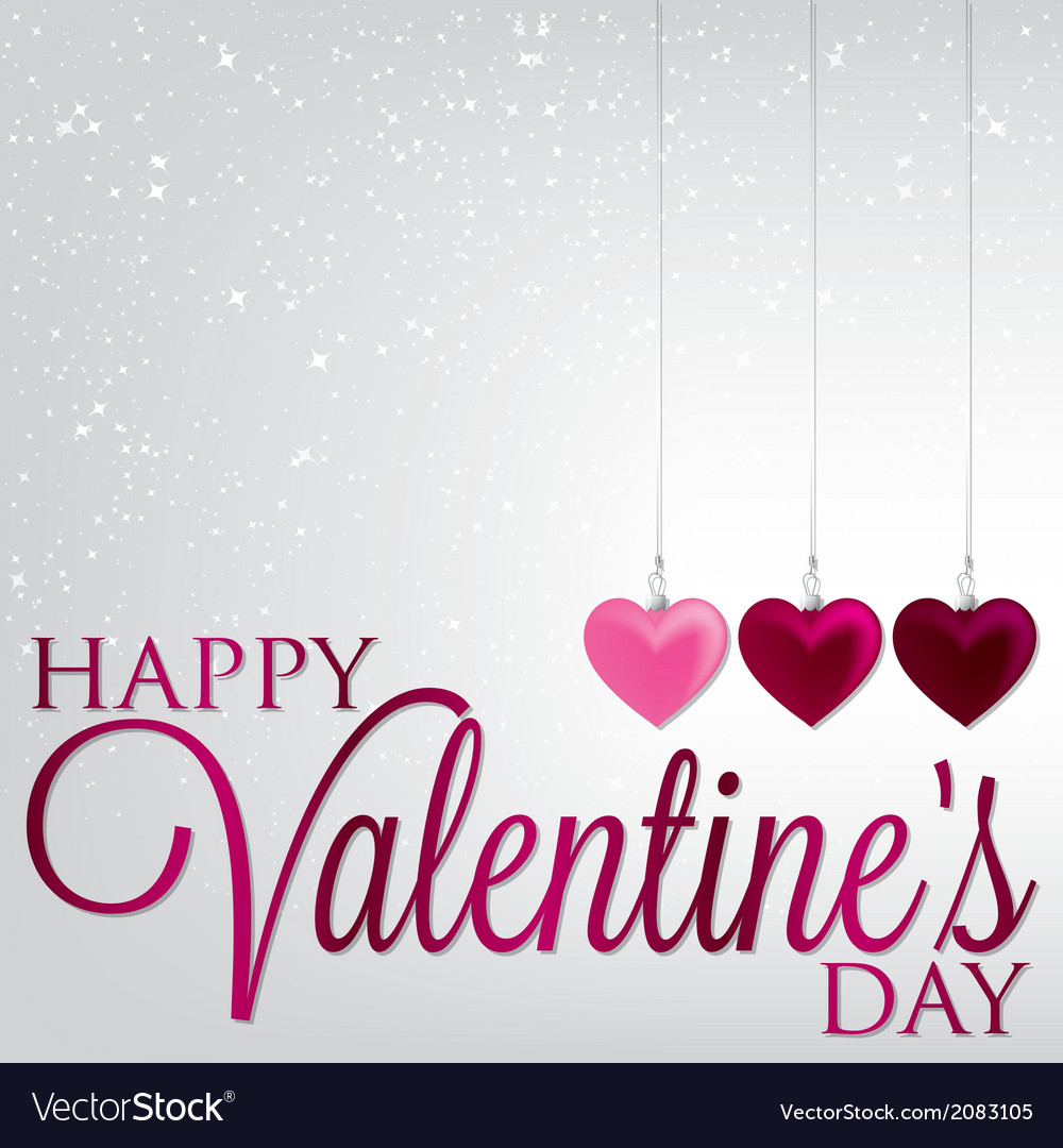 Hanging ornaments valentines day card in format vector | Price: 1 Credit (USD $1)