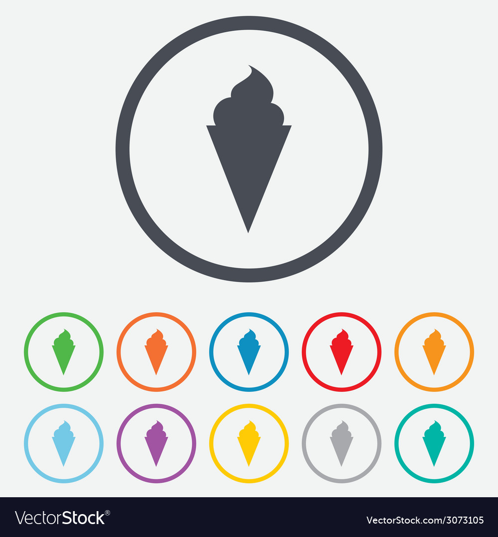 Ice cream sign icon sweet symbol vector | Price: 1 Credit (USD $1)