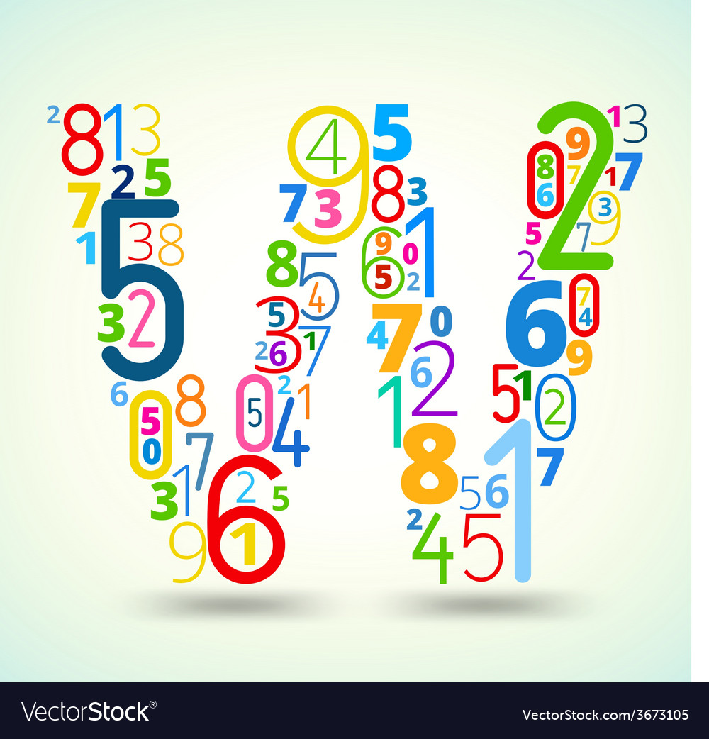 Letter w colored font from numbers vector | Price: 1 Credit (USD $1)