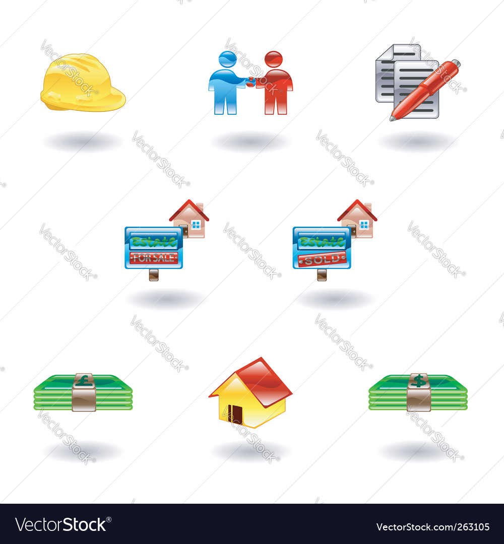 Shiny real estate icons vector | Price: 1 Credit (USD $1)