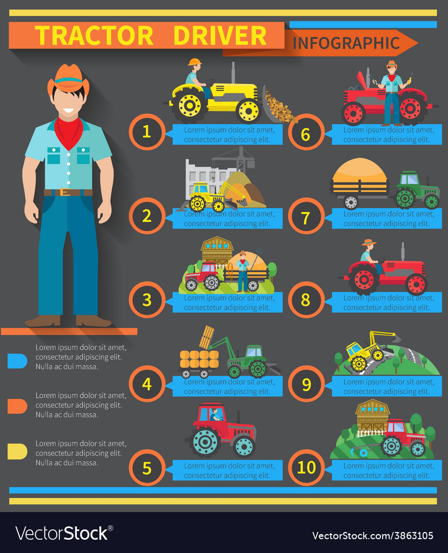 Tractor driver infographics vector | Price: 1 Credit (USD $1)
