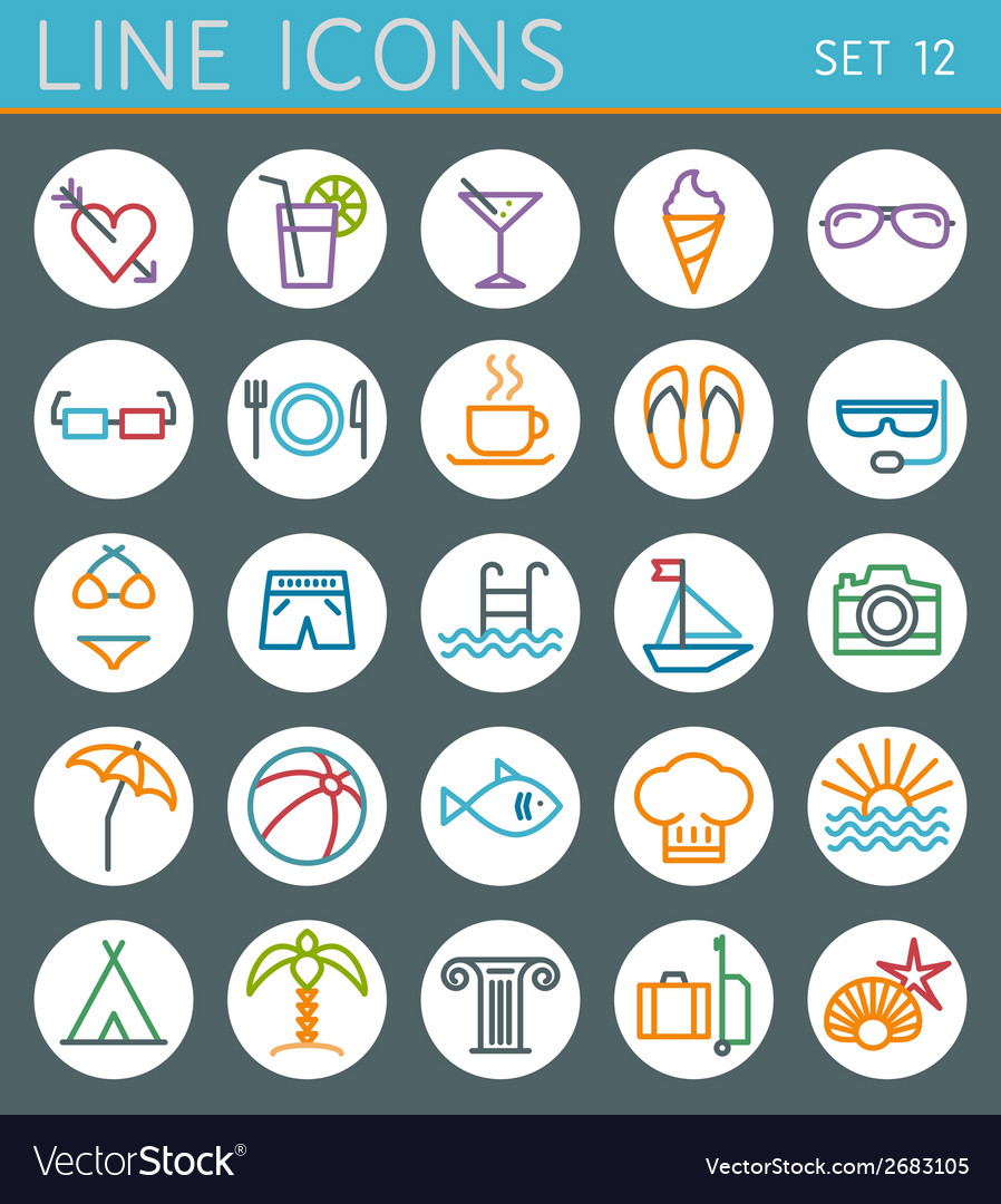 Travel line icons set summer holidays web design vector | Price: 1 Credit (USD $1)