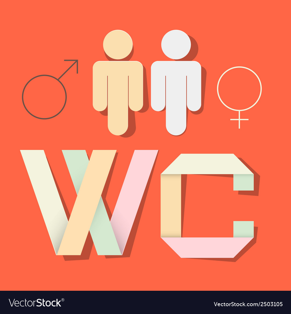 Wc title with paper cut people and man woman vector | Price: 1 Credit (USD $1)