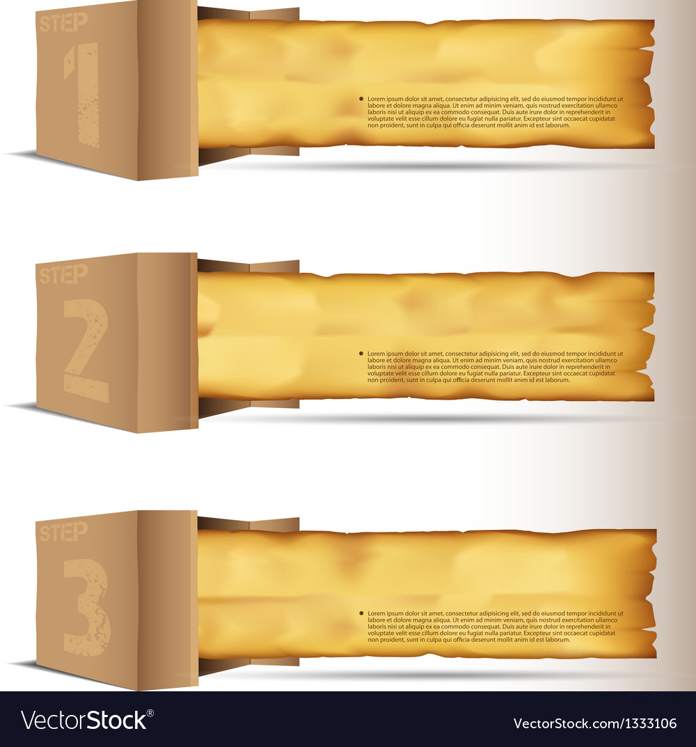 Box with old paper vector | Price: 1 Credit (USD $1)