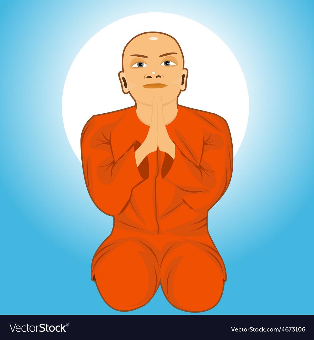 Buddhist monk meditating vector | Price: 1 Credit (USD $1)