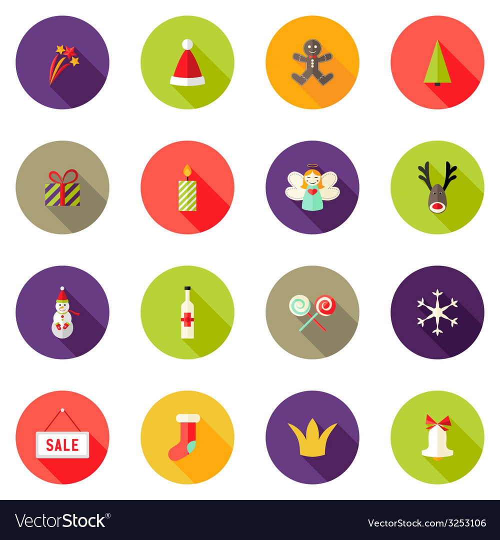 Christmas circle flat icons set 3 vector | Price: 1 Credit (USD $1)
