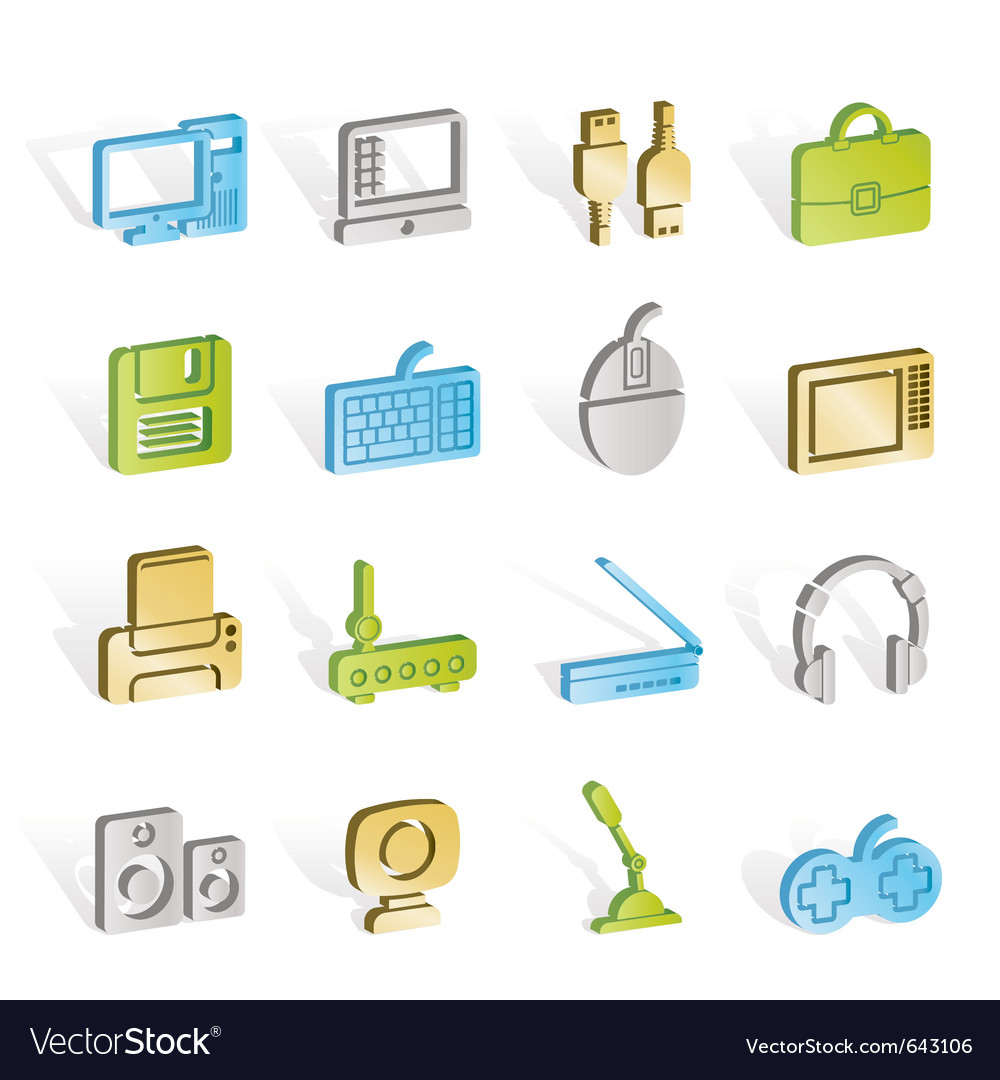 Computer equipment and periphery icons vector | Price: 1 Credit (USD $1)
