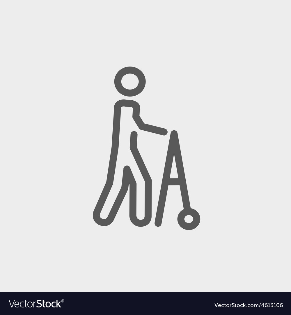 Disabled person with walker thin line icon vector | Price: 1 Credit (USD $1)