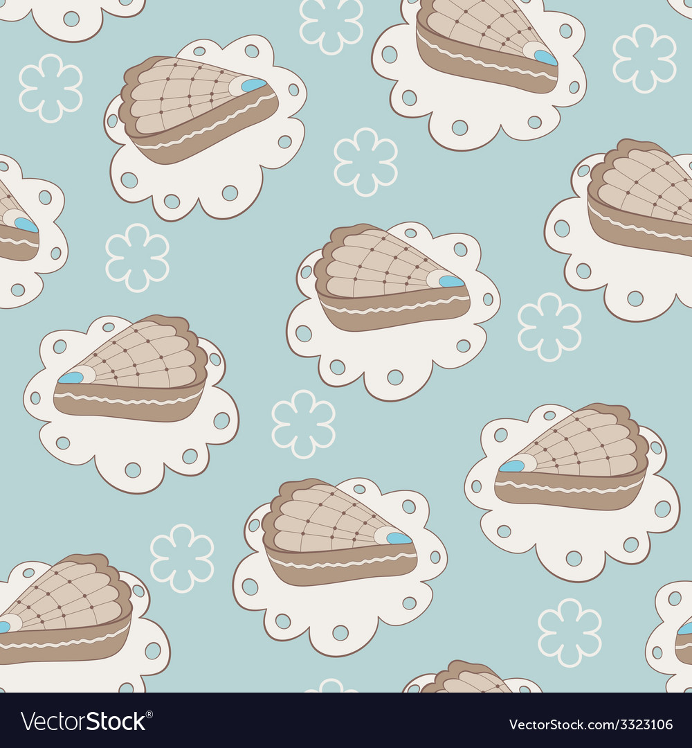 Hand drawn portion of cakes seamless pattern vector | Price: 1 Credit (USD $1)