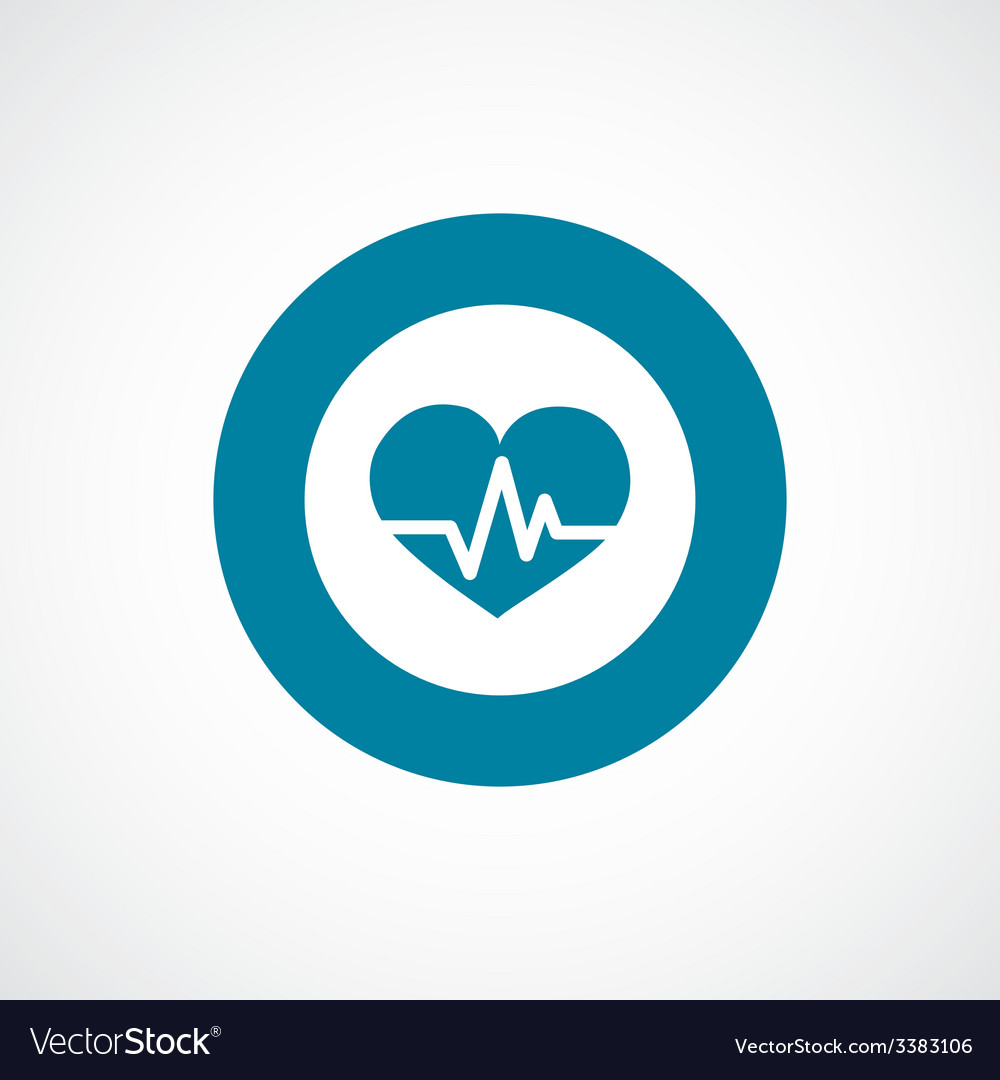 Heart pulse bold blue border circle icon vector | Price: 1 Credit (USD $1)