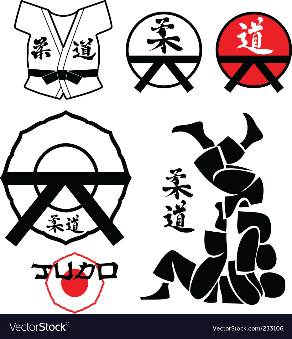Judo design elements vector