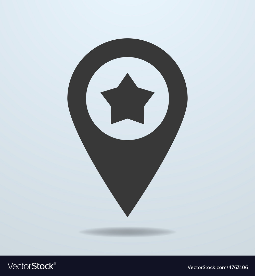 Map pointer with a star symbol vector | Price: 1 Credit (USD $1)