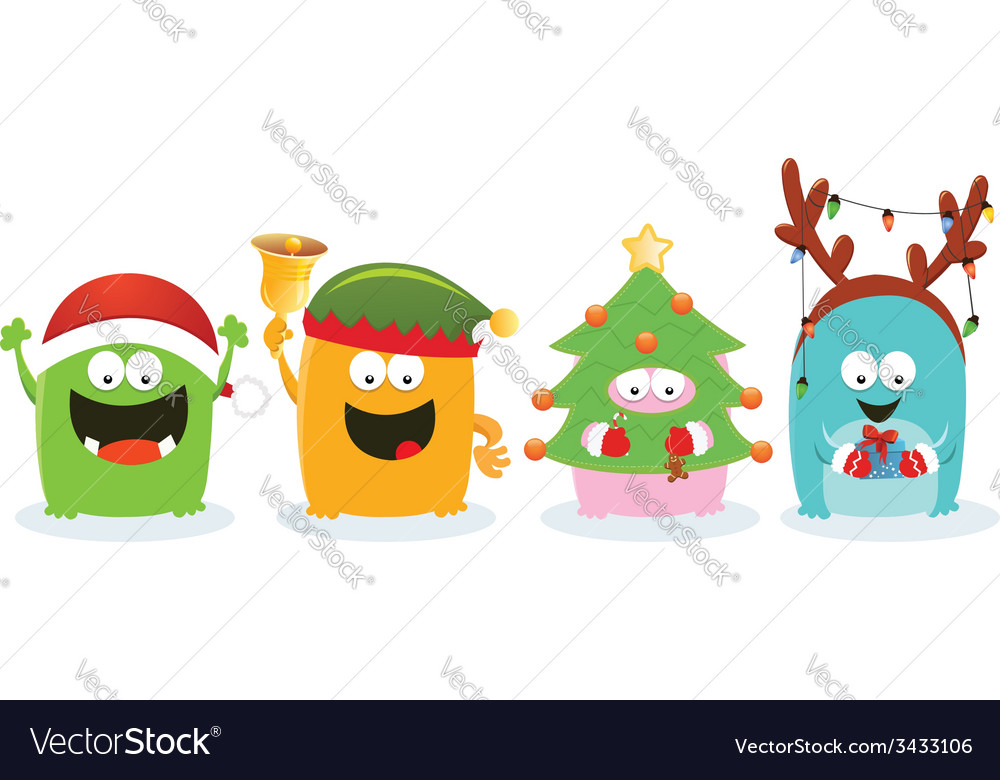 Monsters with christmas costume vector | Price: 1 Credit (USD $1)