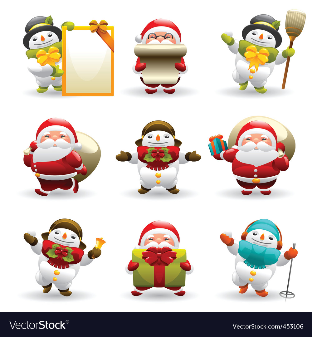Santa claus and snowman vector | Price: 3 Credit (USD $3)