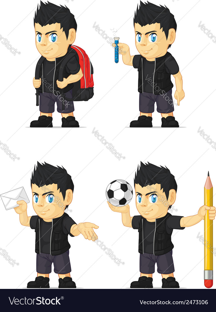 Spiky rocker boy customizable mascot 8 vector | Price: 1 Credit (USD $1)