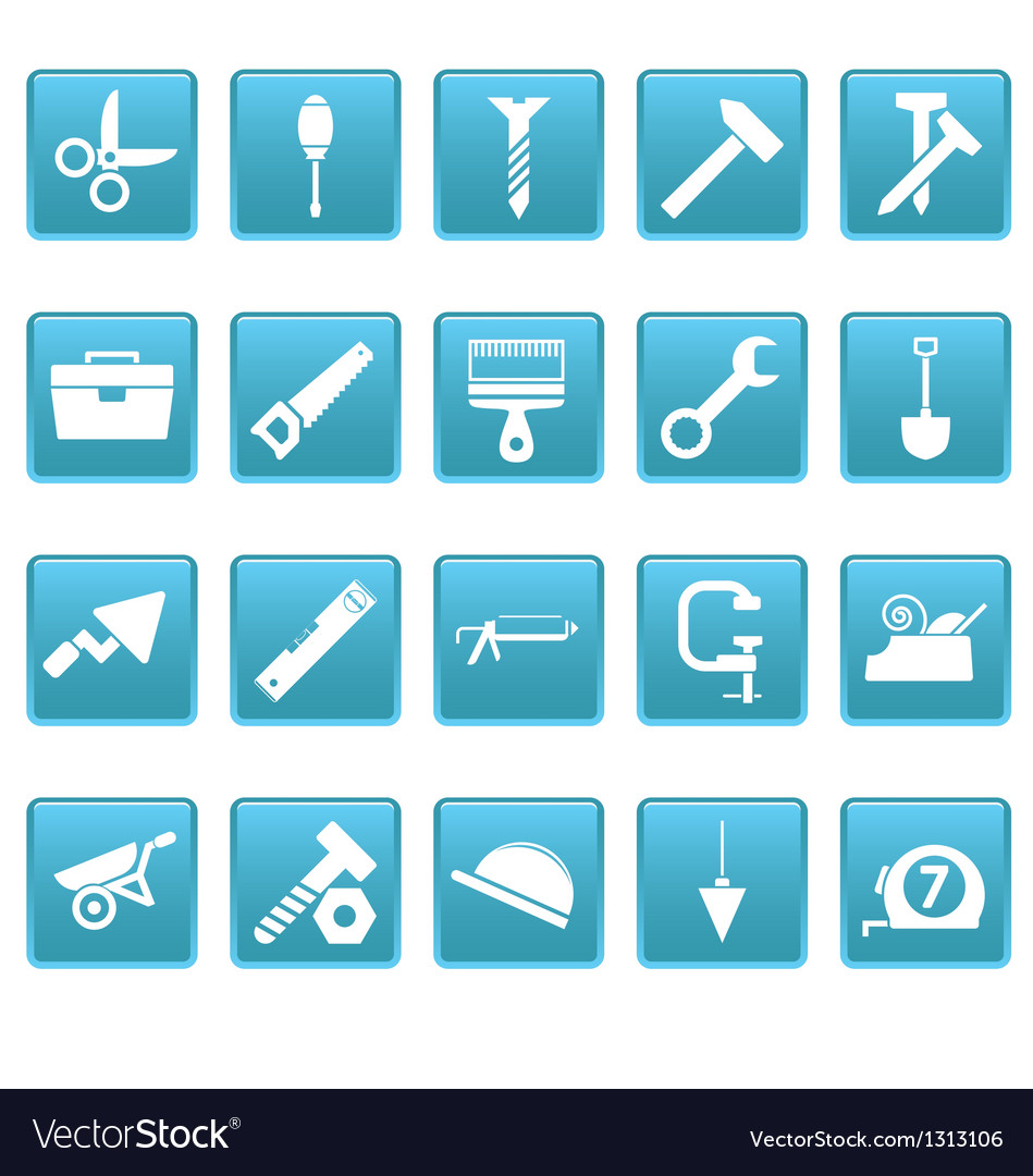 Tools icons on blue squares vector | Price: 1 Credit (USD $1)
