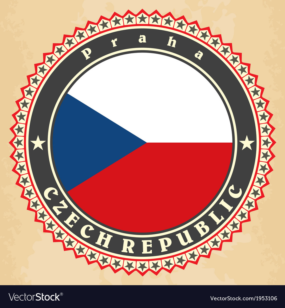 Vintage label cards of czech republic flag vector | Price: 1 Credit (USD $1)