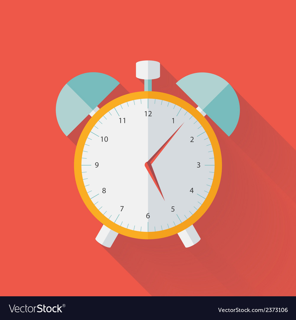White and yellow alarm clock flat icon vector | Price: 1 Credit (USD $1)