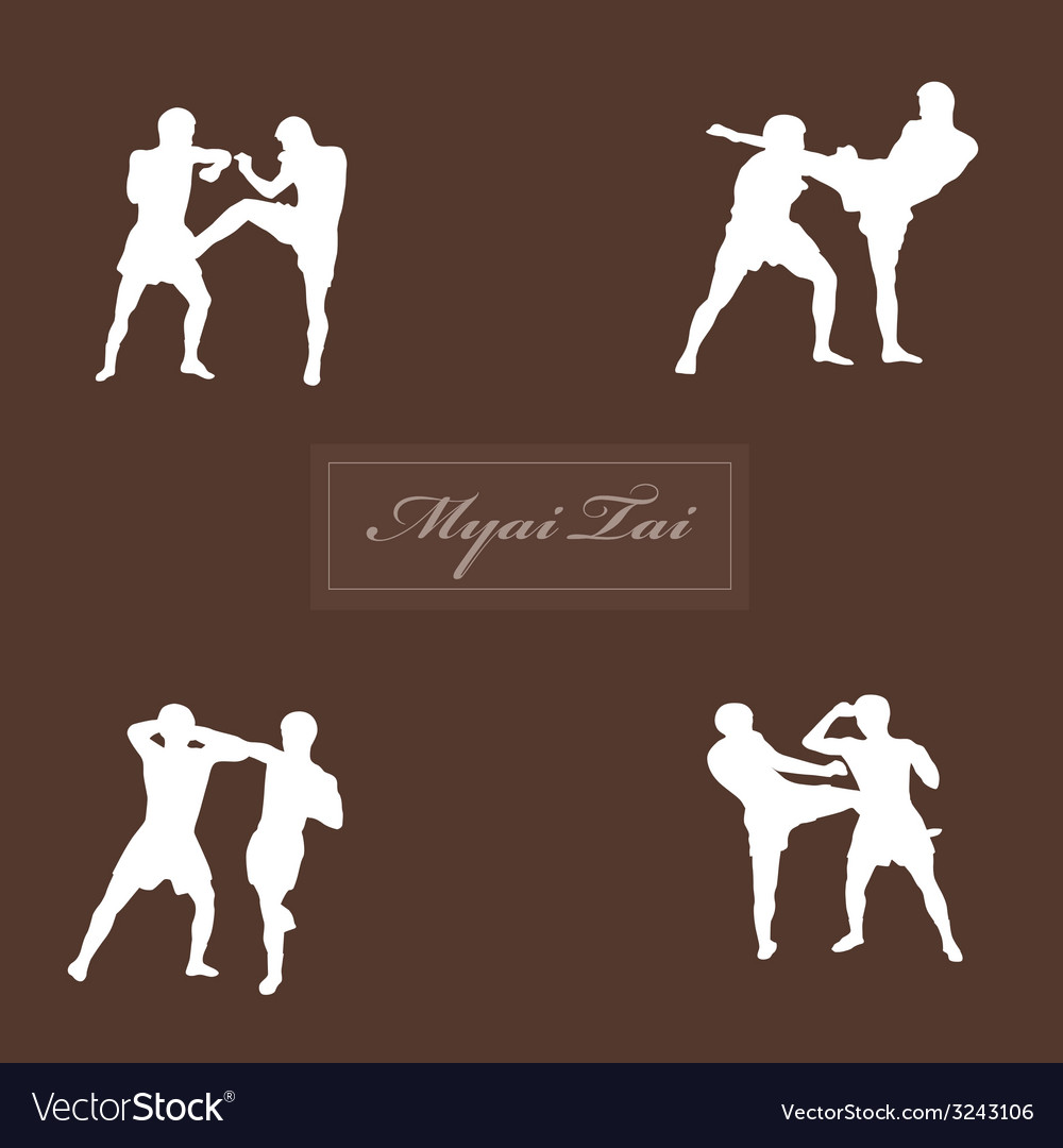 With thai boxers against a dark background vector | Price: 1 Credit (USD $1)