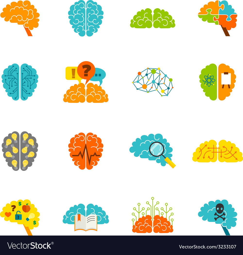 Brain icons flat vector | Price: 1 Credit (USD $1)