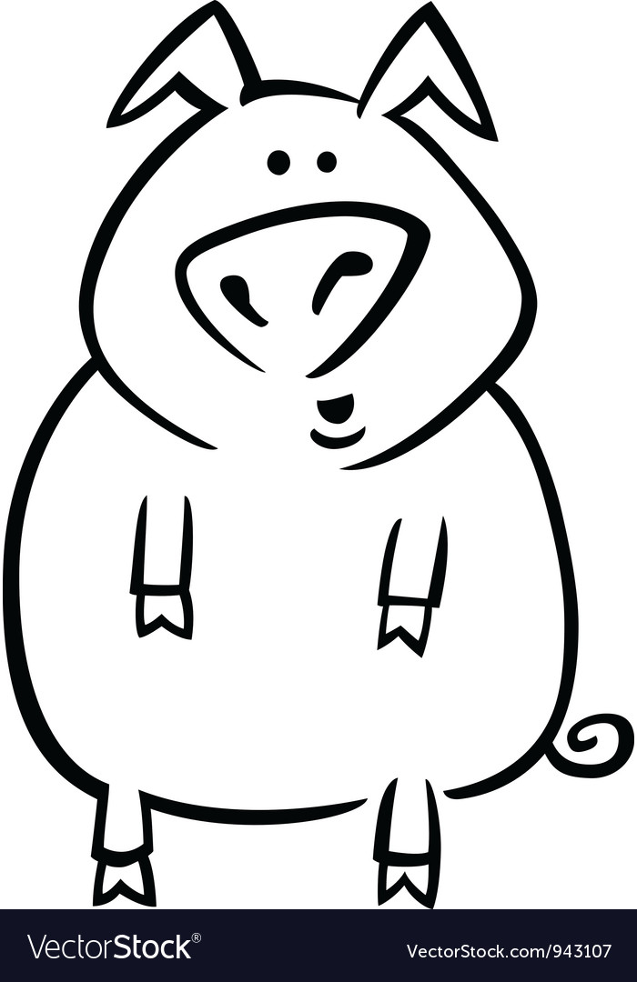 Cartoon pig for coloring page vector | Price: 1 Credit (USD $1)