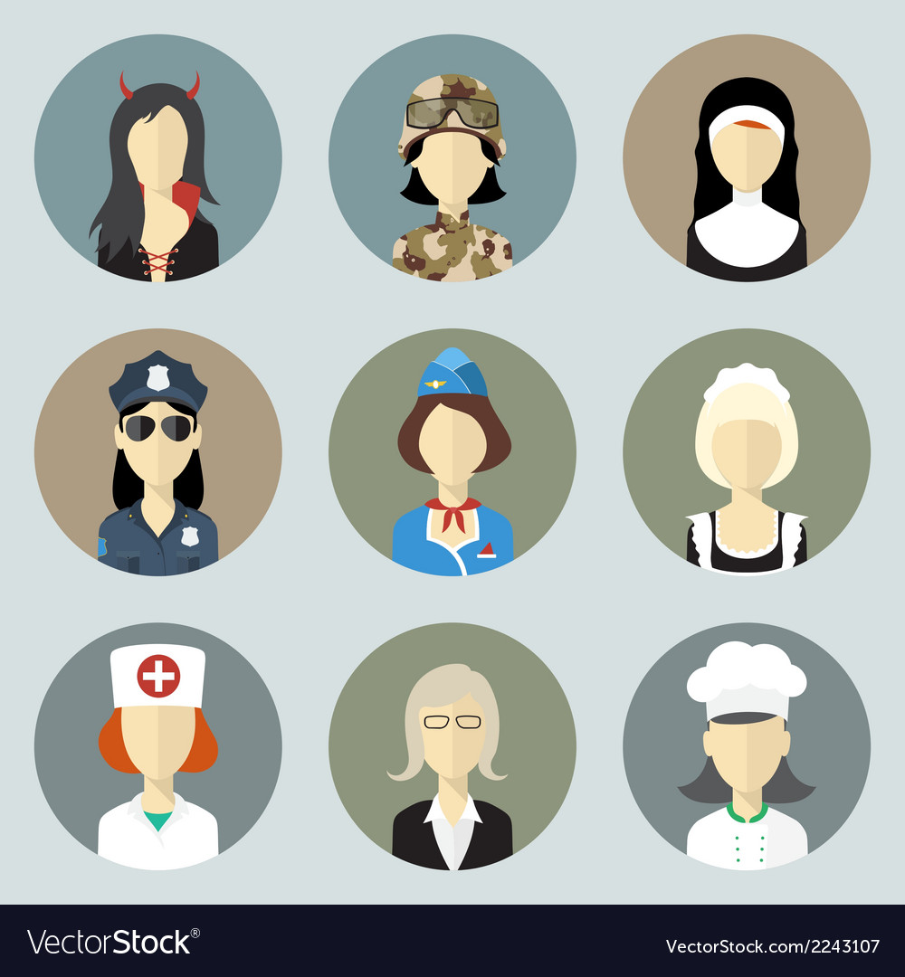 Colorful women in uniform circle icons set modern vector | Price: 1 Credit (USD $1)