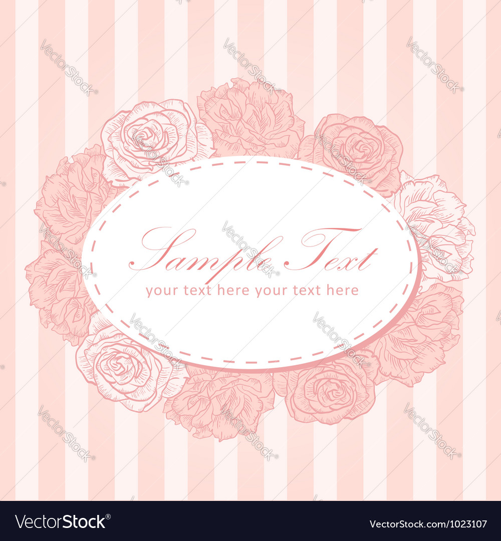Flower stripe invitation love card vector | Price: 1 Credit (USD $1)