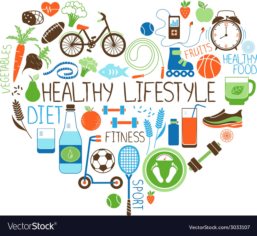 Healthy lifestyle diet and fitness heart sign vector | Price: 1 Credit (USD $1)