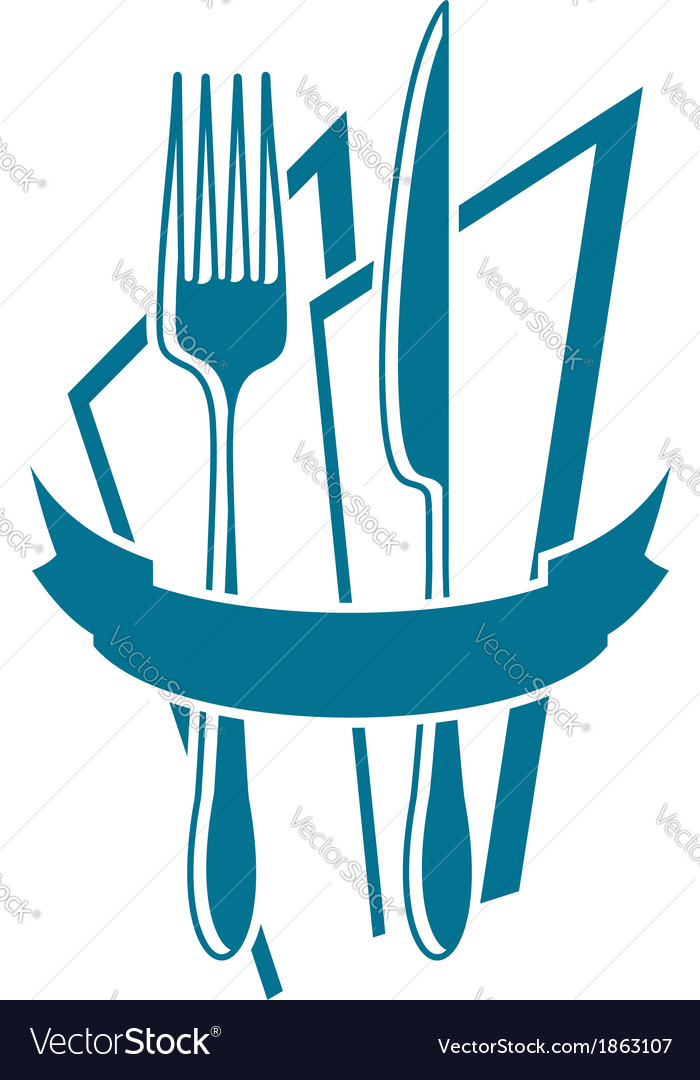 Knife fork and napkin icon in blue vector | Price: 1 Credit (USD $1)