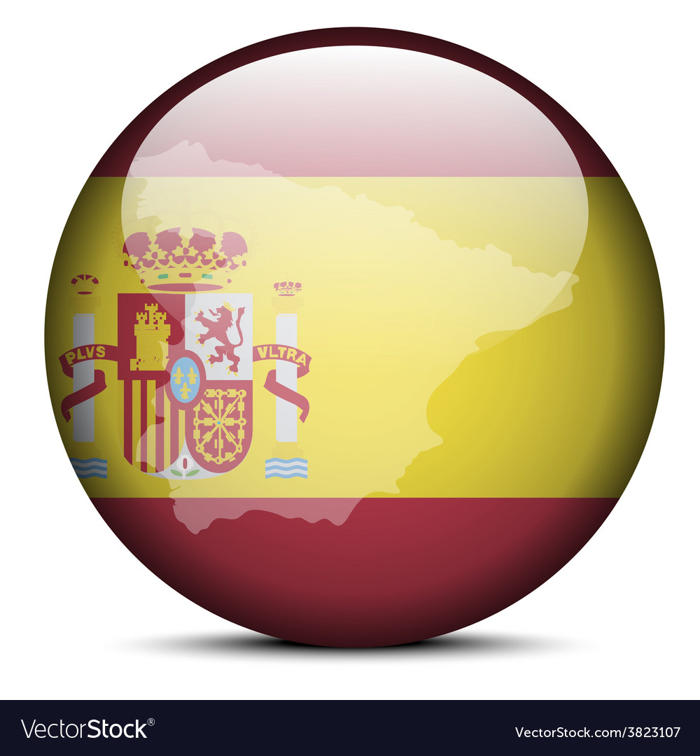 Map on flag button of kingdom of spain vector | Price: 1 Credit (USD $1)