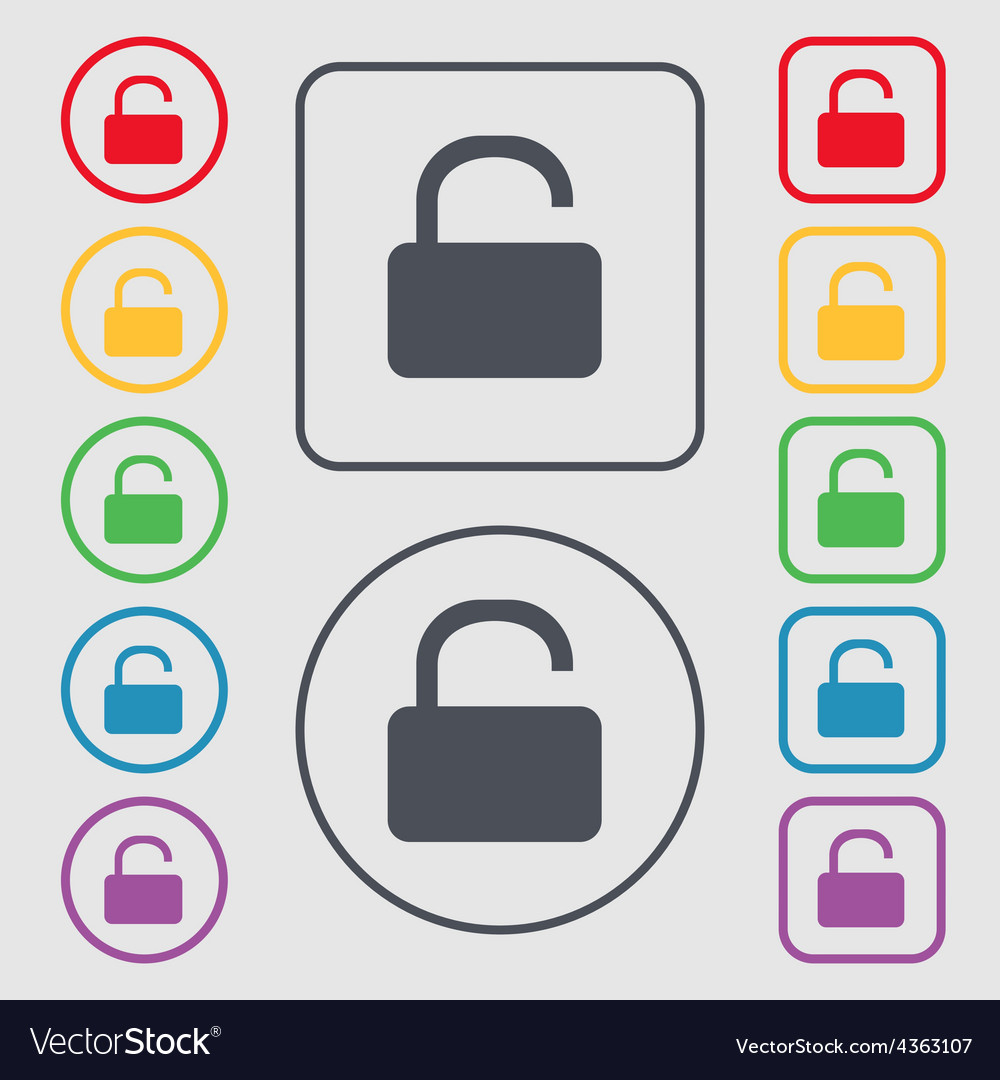 Open padlock icon sign symbol on the round and vector | Price: 1 Credit (USD $1)