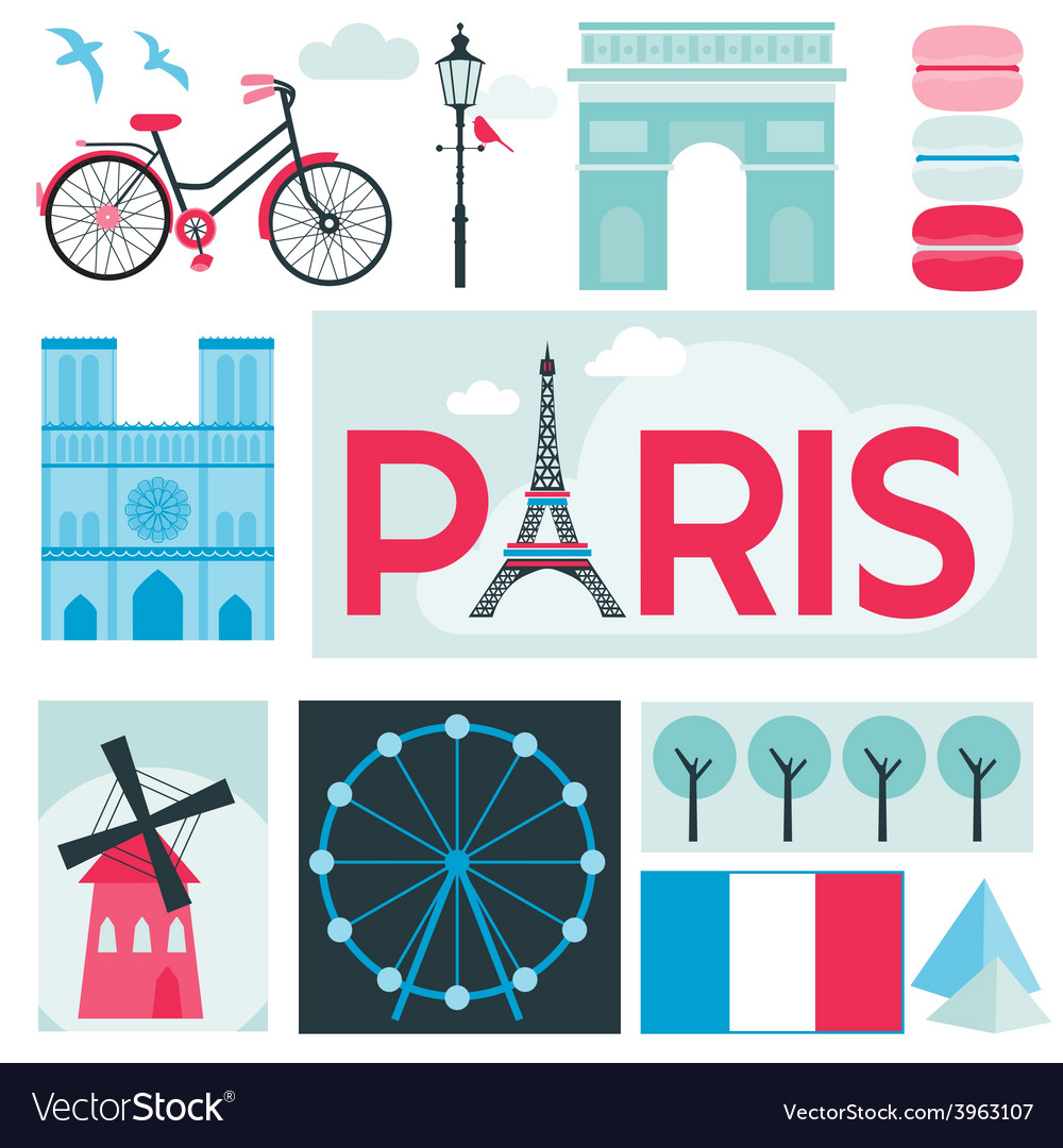 Paris card - places and museum in paris vector | Price: 1 Credit (USD $1)