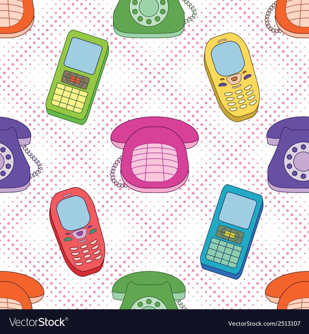 Seamless background cartoon telephones vector | Price: 1 Credit (USD $1)