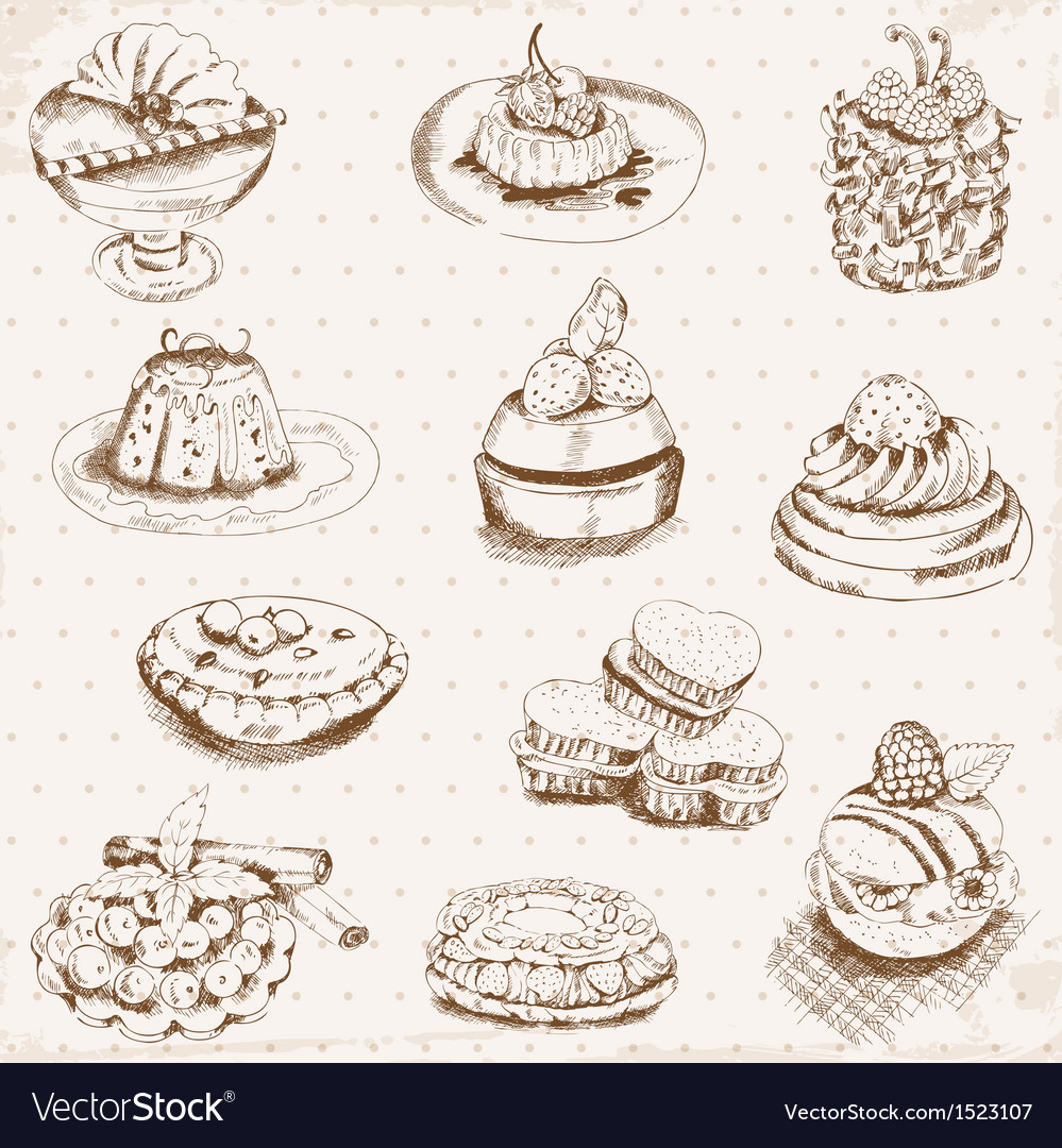 Set of cakes sweets and desserts vector | Price: 1 Credit (USD $1)