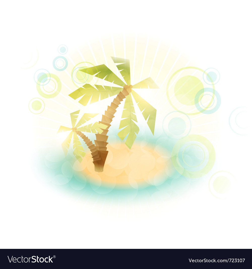 Summer island wth palm trees vector | Price: 1 Credit (USD $1)