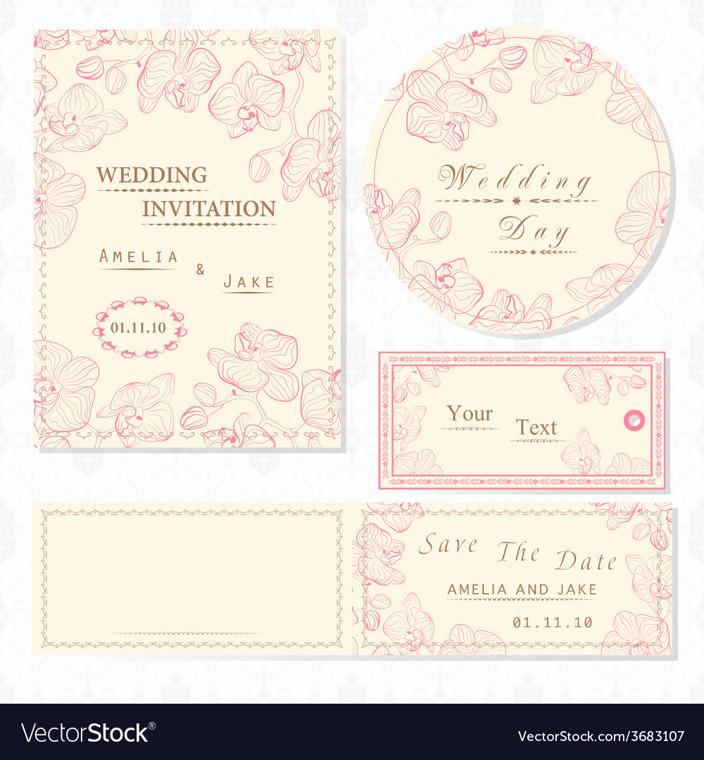 Wedding invitation cards and tag wedding set vector | Price: 1 Credit (USD $1)
