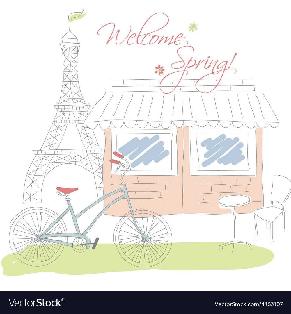Welcome spring in paris postcard hand drawn vector | Price: 1 Credit (USD $1)