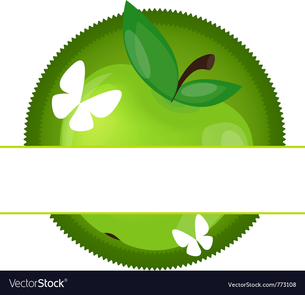 Apple and butterfly vector | Price: 1 Credit (USD $1)