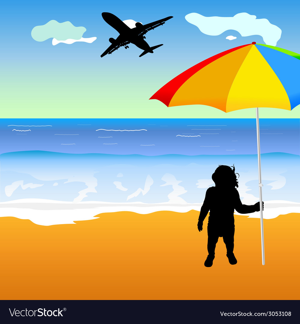 Baby holing umbrella on the beach vector | Price: 1 Credit (USD $1)