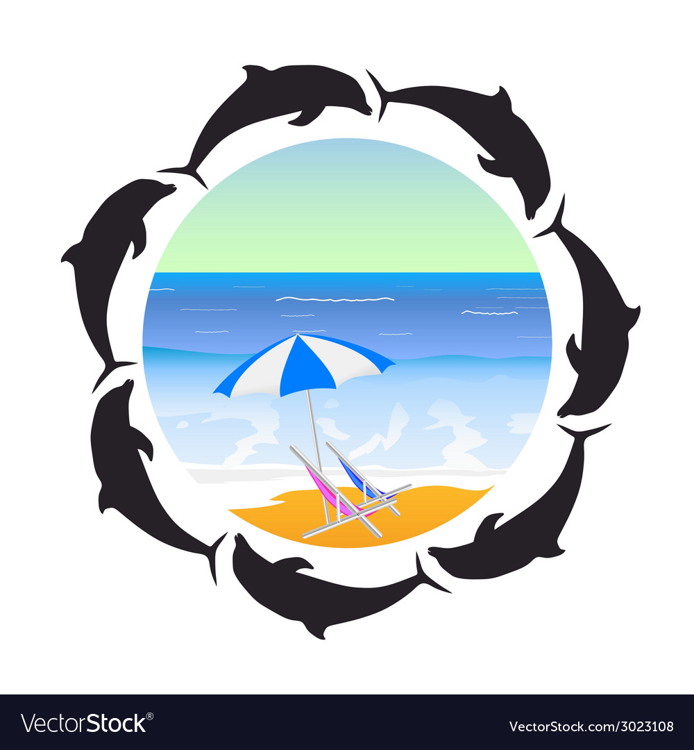 Beach and dolphin silhouette vector | Price: 1 Credit (USD $1)