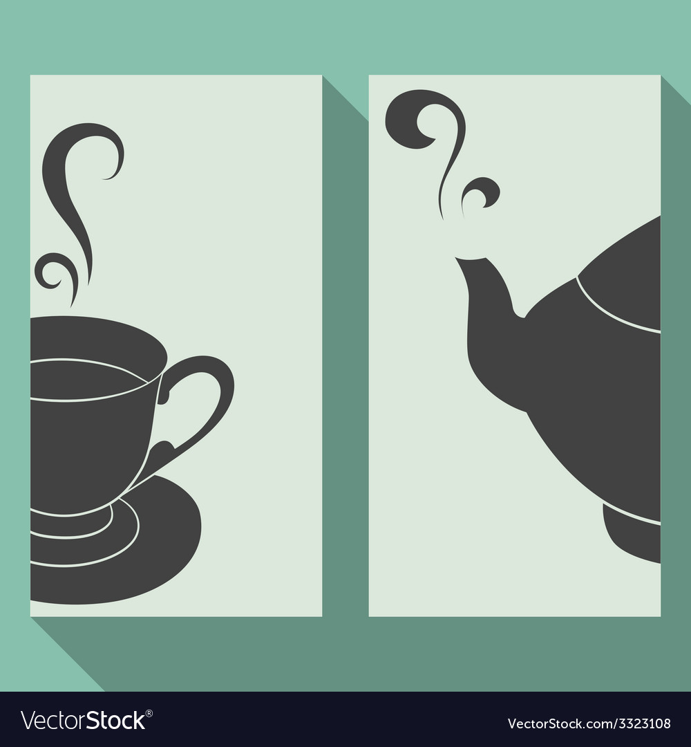 Business card set with silhouettes teapot and cup vector | Price: 1 Credit (USD $1)