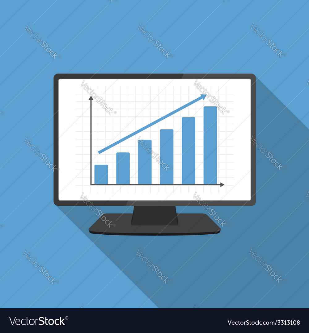 Computer with bar graph vector | Price: 1 Credit (USD $1)