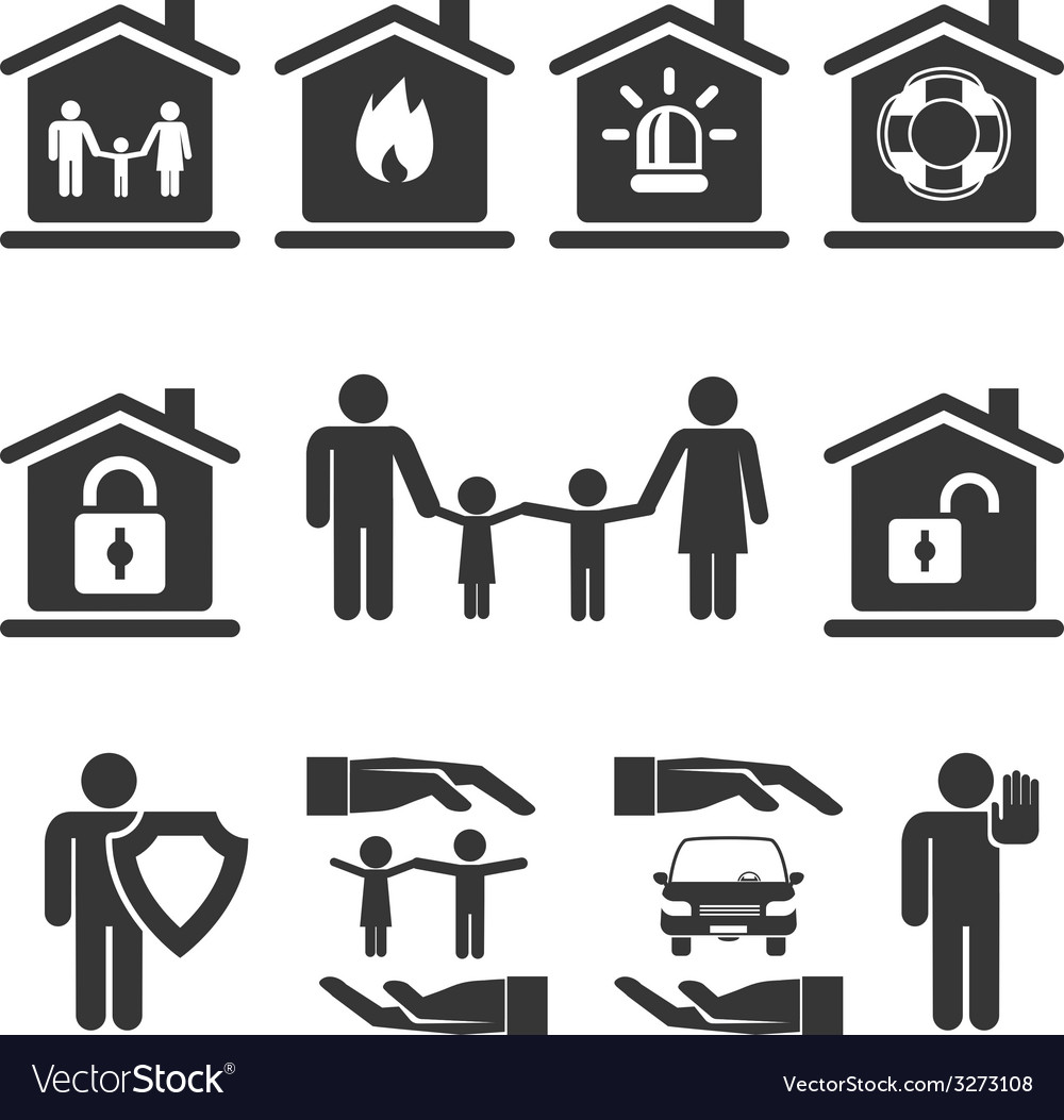 Family home and auto insurance icon designs vector | Price: 1 Credit (USD $1)