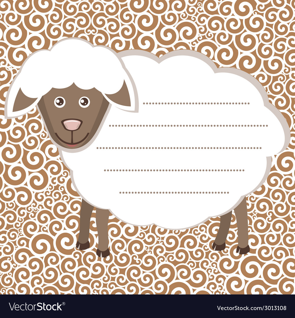 Greeting card with cute sheep vector   Price: 1 Credit (USD $1)