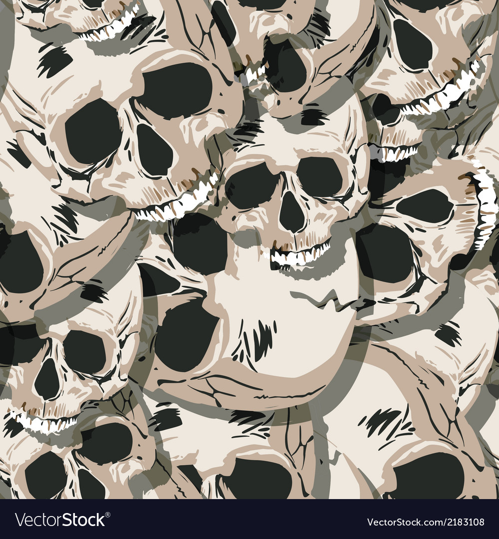 Grunge seamless skulls pattern vector | Price: 1 Credit (USD $1)