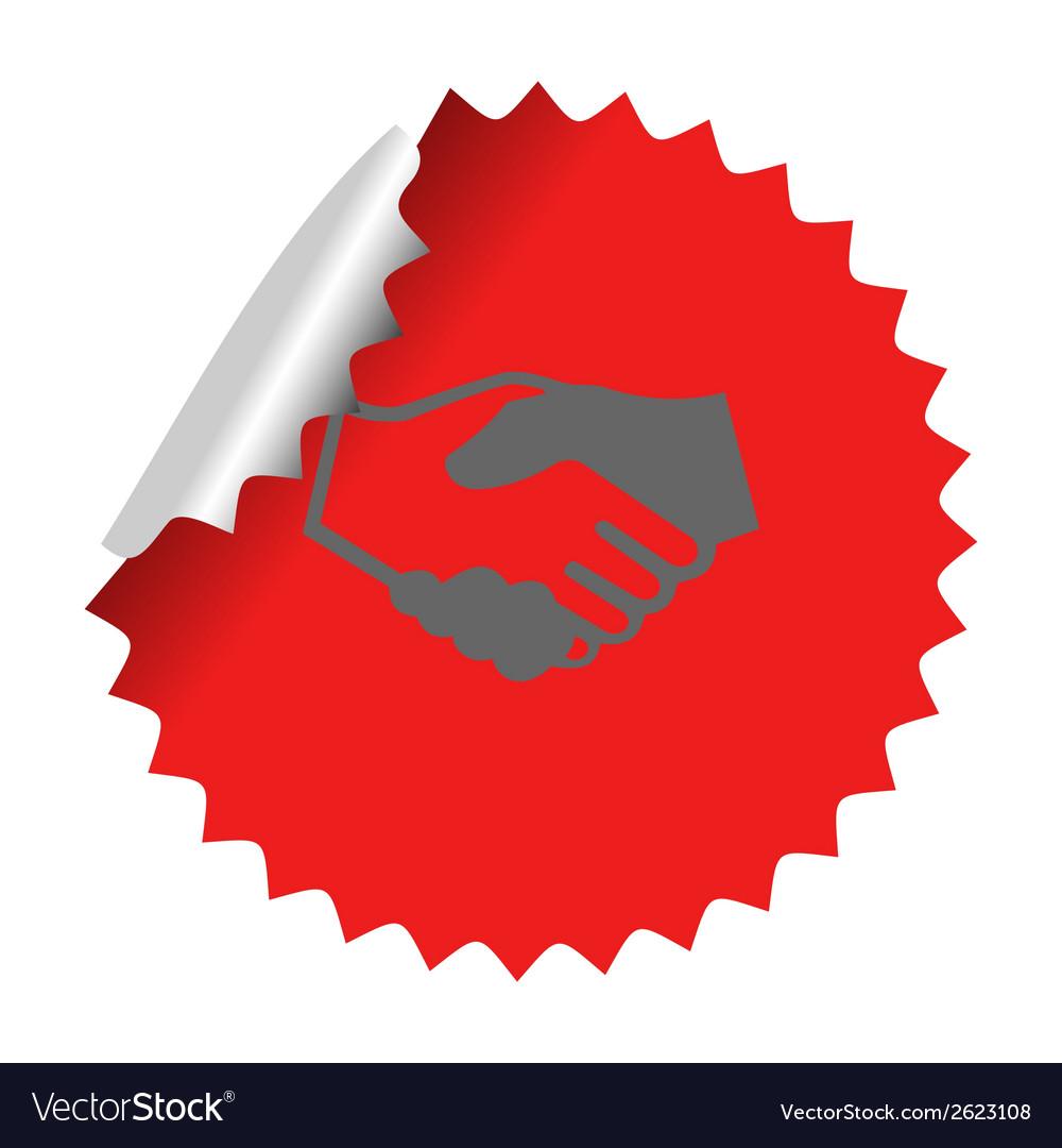 Handshake icon in sticker vector | Price: 1 Credit (USD $1)