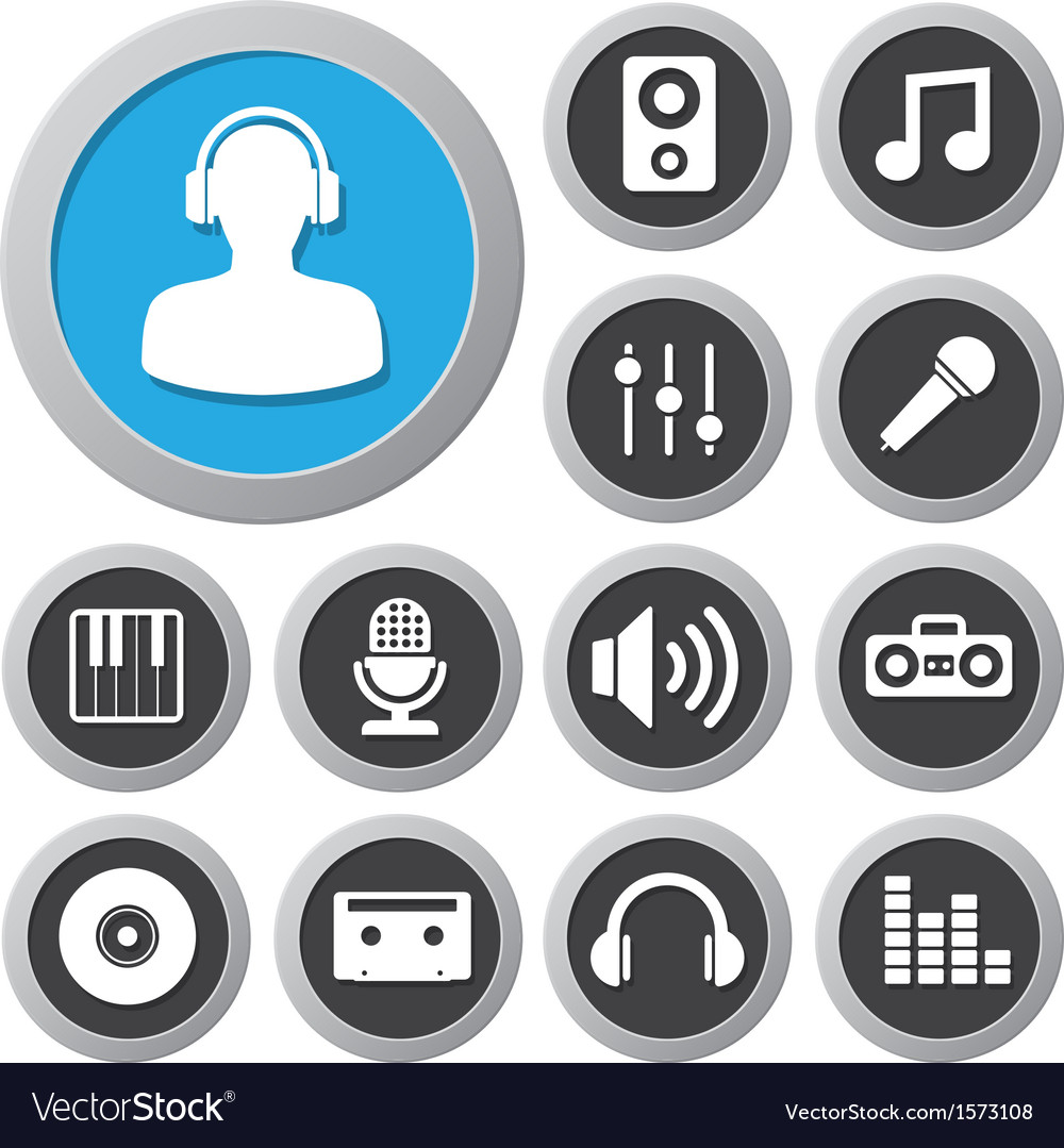 Music icon set vector | Price: 1 Credit (USD $1)